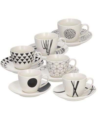 Confezione 6 Tazze Caffè Con Piattino New Bone China Nero LINEA METROPOLIS